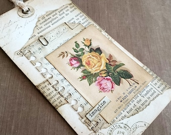 Mixed Media Vintage Flower Tag