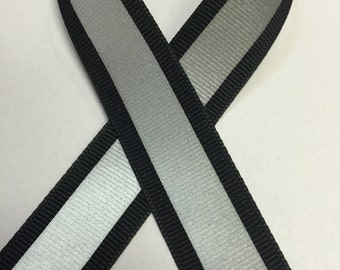 "7/8"" BLACK - Reflectro Reflective Ribbon Grosgrain  - 1/2"" 3M Silver Reflective Stripe - Ribbon By the Yard - Sports/ safety ribbon Reflects"