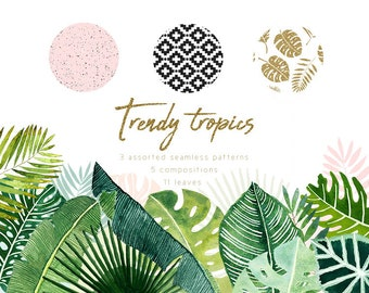 High quality watercolor tropical leaves clipart, hand-painted tropical forest leaves, ethnic seamless pattern, ceramic pattern, gold glitter