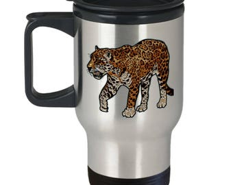 Leopard Print Coffee Travel Mug - Gift for College Student