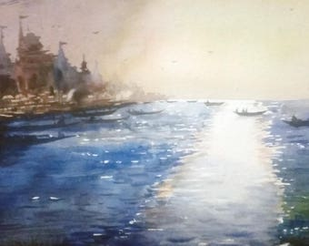 Morning Light on Holy Ganges in Varanasi