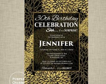 30th birthday invite Gold and Black Invite Flower Burst Invitation Surprise Invite Floral Birthday Invite Feminine Black Party Invite 278