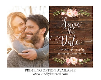 Rustic Photo Save-the-Date-Printable Invitations-5x7 Digital File-Photo Card-Announcement Invites-Rustic Wedding-005