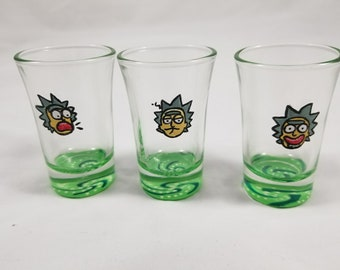 Rick and Morty shot glasses, Birthday Gift, Best Friend Gift, Sister Gift, Gifts for Her, Gifts for Him, Holiday Gifts, Gifts under 25
