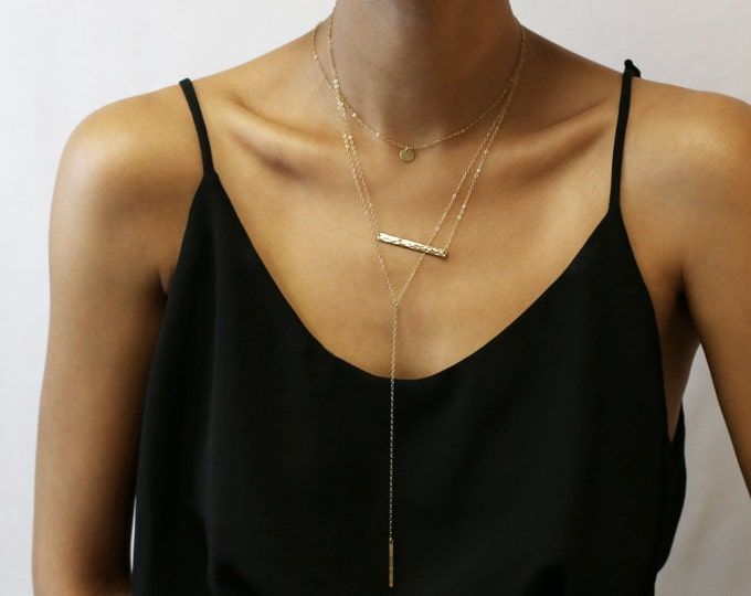 Hammer Bar & Lariat Set of 3 Necklaces Combo  - Dainty Layered Necklaces with gold bar and lariat Y drop necklaces
