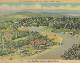 Vintage 1940's Linen Postcard of Acadia Park in Mount Desert Maine and View of Cadillac Mountain Summit Road