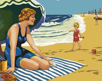 Woman and Beach Scene - Vero Beach, Florida (Art Prints available in multiple sizes)
