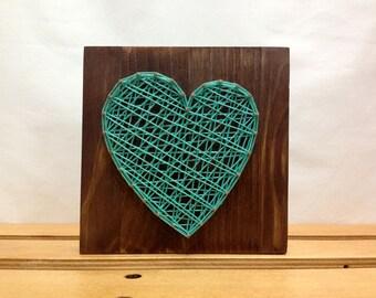 String Art Heart Sign Turquoise Celadon Wall Art