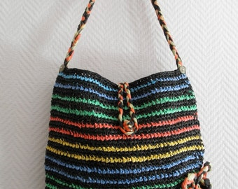 Black and Colored Striped Recycled Plastic Bag,Recycled,Palestinian,Eco Friendly,Humanitarian, Peace