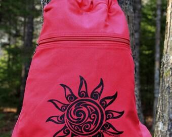 Sun Tribal Tattoo Design Pigment Dyed Cinch Bag Backpack -  Screen Printed Original Design
