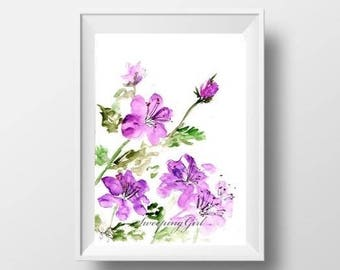 Purple abstract wild flower watercolor painting abstract flower print wall art deco flower decoration minimalist flower poster floral decor