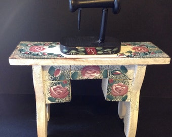 Clearanace - Unique Christmas Gift - Vintage Shabby Chic  Miniature Sewing Machine Cabinet - SM50