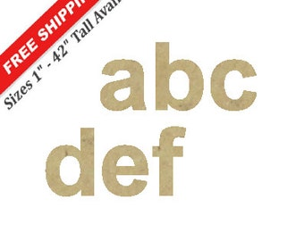 Unfinished Wooden Lower Case Letters in the ARIAL BLACK Font Style