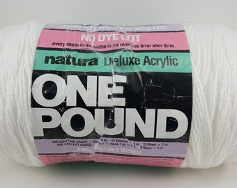 One Pound Yarn,Jumbo Super Value,Natura Deluxe Acrylic,Pure White,No Dye Lot,16 ozs,Mothproof,Colorfast,Non Allergenic, 4 Ply Worsted Weight