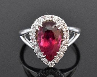 18K White Gold Rubellite Tourmaline and Diamond Ring | Engagement Ring | Wedding Ring | Statement Ring | Diamond Halo | Handmade Ring