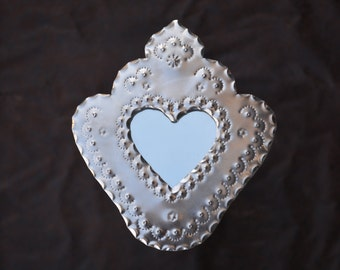 tin heart mirror Corazon Small hand punched New Mexican tinwork Jason Younis y Delgado www.newmexicotinwork.com