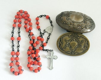 Vintage French Red Rosary Catholic Beads Prayer Beads with Box in Louis XV decor