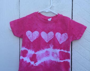 Toddler Girls Shirt, Pink Girls Shirt, Girls Tie Dye Shirt, Tie Dye Girls Shirt, Pink Heart Shirt, Batik Girls Shirt, Girls Birthday (2T)