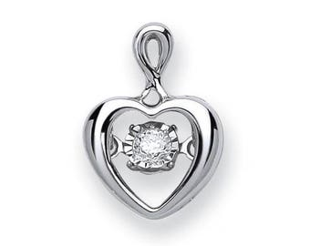 9ct White Gold 0.06ct Dancing Solitaire Diamond Heart Shaped Pendant