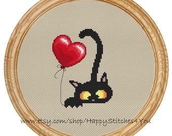 Cross Stitch Pattern PDF cat and balloon  DD0147