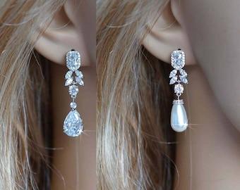 All CZ or Pearl Handmade Fancy Cut Cubic Zirconia CZ or Pearl Drops Dangle Earrings, Bridal, Wedding (Sparkle-2796)