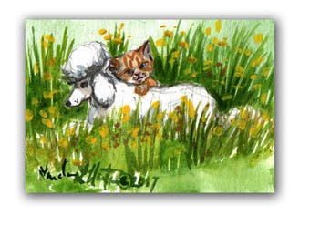 White Poodle Tabby Cat Baby Nursery llmartin Original ACEO New Mom  Child Children Watercolor New Mom Free Shipping USA