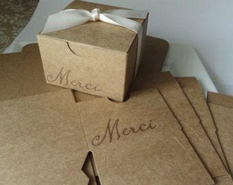 Merci gift box - Thank you favor box - 3x3x2 kraft box - Wedding - bridal shower box - set of 4 - French inspired - Birthday - Baby shower
