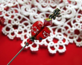 I Heart Red Millefiori Candy Hearts Victorian Stick Pin or Ascot Pin