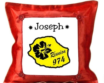 Meeting red pillow personalized with name
