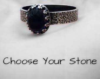 Custom Made Sterling Silver Ring / Choose Your Stone / Rustic Ring /