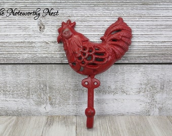 Red Rooster // key wall hook // Iron Rooster Hook  // Cast Iron Hook // Kitchen Hook // towel hook // rooster hook / red decor / red kitchen