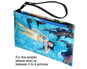 Medium size custom wristlet made using pictures from you - FREE SHIPPING - gift gifts for girlfriend sister customized wallet bag personal