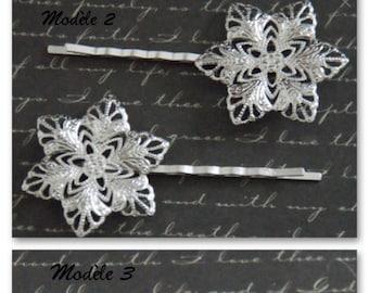 2 hair clips print floral silver metal