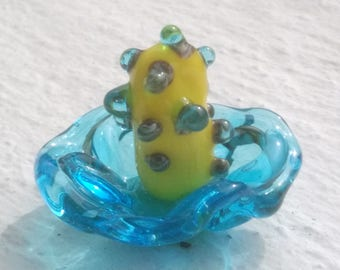 Blue and yellow - exotic flower Lampwork Glass
