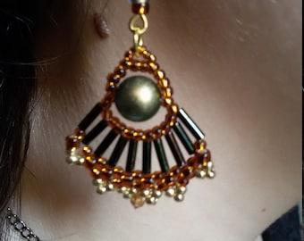 "Earrings ""Tebe"", Beaded Earrings, Drop Earrings, Swarovski Earrings, Elegant Earrings, Gift for women,Orecchini perle Svarovski,Green-gold,"