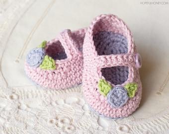 CROCHET PATTERN - Mary Jane Rosebud Baby Booties