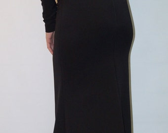 Long Sleeve Maxi Dress /Open Back Black Dress/ Dolman Sleeve Extravagant Dress/F1429