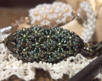 DIY Beading pattern Baroness Beaded Bead, RAW beading tutorial, triangle weave pattern, vintage style beaded bead, pendant, PDF