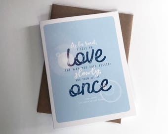 Fall In Love All At Once A2 4.25in x 5.5in. Greeting Card | Literary Quotes | Fiction Novel | Classics | John Green | The Fault In Our Stars