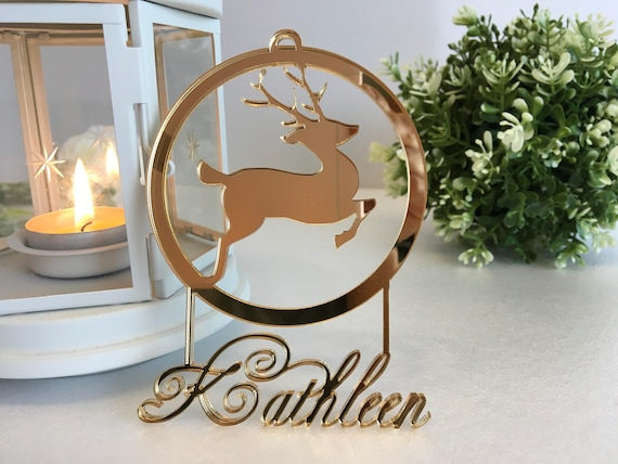 Personalised deer Christmas baubles Custom name gift Reindeer ornament Name tree decorations Christmas Gift Rudolph Baby's first Christmas