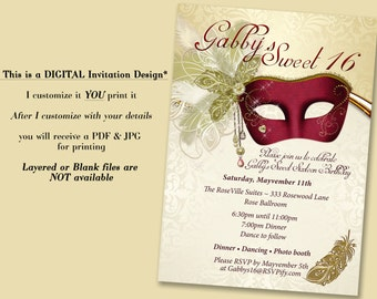 Pink Masquerade Invitation Pink Mask invitations Masquerade