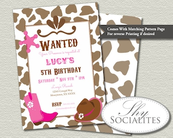 Pink Cowgirl Party Invitations | Country Western, Cowgirl Boots, Cowgirl Hat, Wanted Poster, Country Birthday | INSTANT DOWNLOAD