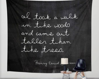 Wall Tapestry - Thoreau - Inspirational Tapestry - Woodland Decor - Black and White - Inspirational Decor - Cabin Decor - Lakehouse Decor