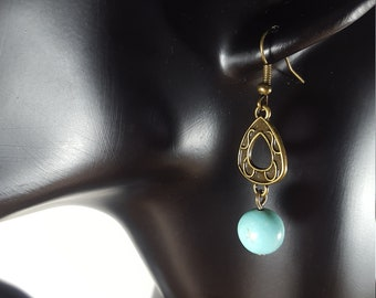 Dangle earrings, Drop earrings, Turquoise Howlite earrings, Everyday earrings, Natural stone, Crystal earrings, Boho earrings, Gift for her