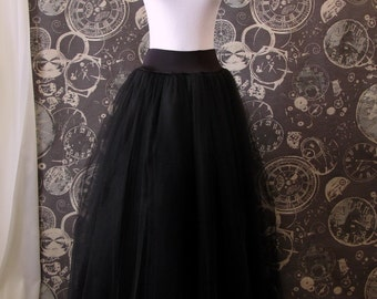 Black Tulle Skirt -Stretch drop waist for wearing with corsets -Full length- Long Adult Skirt, Tutu, Crinoline or Petticoat - Custom Size