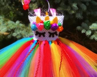 Adult Rainbow Unicorn Tutu Dress & Headband Set