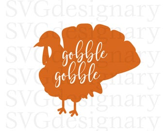 Gobble Gobble (Thanksgiving, Turkey) Orange SVG PNG Download