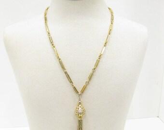 Vintage Kramer Gold Tone Tassel Necklace