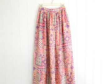1970s Boho Maxi Skirt Psychedelic Pink FLORAL High Waisted Floor length skirt Extra Small XS