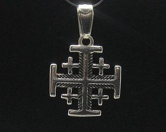 Gold and silver jerusalem christian cross on black leather pe000588 sterling silver pendant jerusalem cross solid 925 aloadofball Images